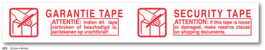 PP Tape Acryl 50 mm 66 mtr. WIT/ROOD GARANTIE/SECURITY